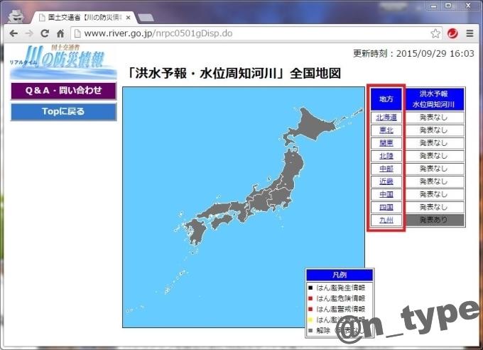川の防災情報 洪水予報 top