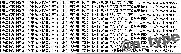 放流通知ログ 池田ダム