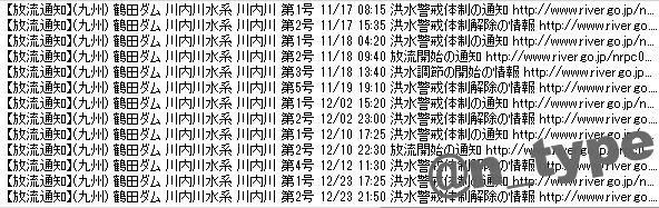 放流通知ログ 鶴田ダム