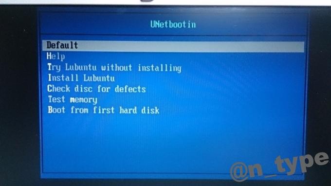 UNetbootin 起動画面