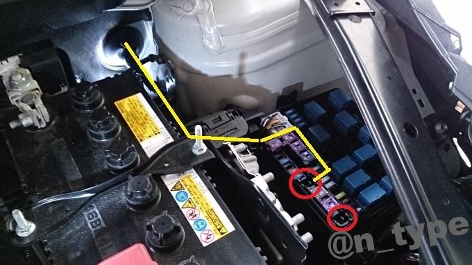 スイフトRS 電源引き込み エンジンルーム 配線