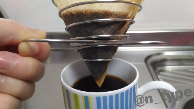 ユニフレーム コーヒーバネットcute 最後は持ち上げて
