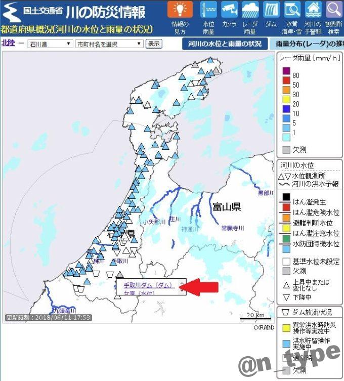 川の防災情報の地図