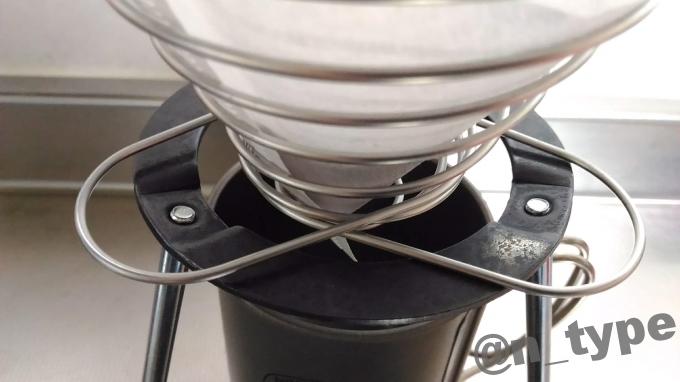 組立式三脚台とコーヒーバネットcuteの接触部分