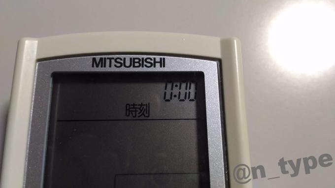 三菱エアコン(MSZ-JXV281) リモコン(PG113/M21EA4426) 時刻の点滅